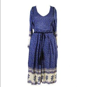 Zara Trafaluc Blue Peasant Prairie Midi Dress